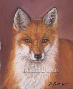 Little Red Fox Pastel by Della Burgus -- Art Helping Animals
