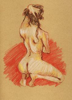 femme pastel nu atelier paris dessin kraft