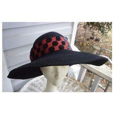 60949b9c733 Mr Charles Vintage Black Wool Hat with Fancy Red and Black Trim
