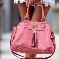 Pink handbag love.
