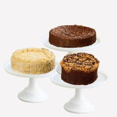 Gifting as easy as 1, 2, 3! Our Premium Cake Collection includes a Gourmet Classic Layer Cake, a Brownie or Coffee Cake, and a Singular Sensation - best of all - you select which flavors!