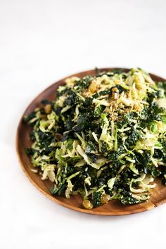 Shaved Brussels Sprout and Kale Salad with Lemon Maple Dressing and Hemp   Pumpkin Seed Parmesan