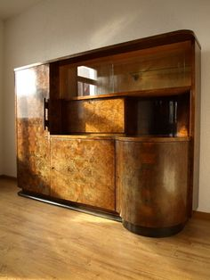 Art Deco Walnut Wall Unit Display Cabinet Drinks Bar | eBay