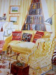 watercolors of mark hampton | Watercolor of Libby Cameron's living room by Mita Corsini Bland