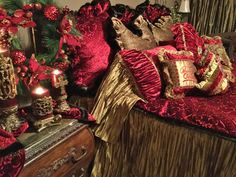 Christmas Decorating - Your  Master Bedroom with luxury bedding and accessories and Sir Oliver's candles by Reilly-Chance Collection!