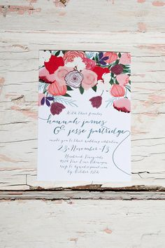 florals are so pretty and timeless in stationary design and the colours and fonts make this invite truly modern.