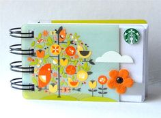 Upcycled Starbucks gift card turned into mini notebook by Campfire Designs via Etsy. Card Crafts, Crafts To Do, Paper Crafts, Diy Crafts, Starbucks Crafts, Starbucks Gift Card, Handmade Journals, Handmade Books, Mini Scrapbook Albums