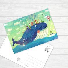 Замечательная открытка детской художницы Юлии Григорьевой напоминает взрослым о детстве, а детям дает повод пофантазировать. Большой синий кит плывет по просторам океана, а на спине у него живет своей жизнью маленькая деревня.