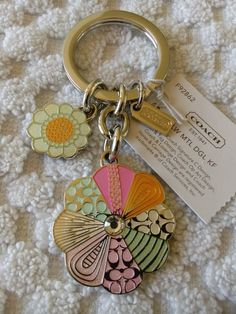 NWT Coach Multi Color Flower Keychain Key Ring Charm Fob #Coach