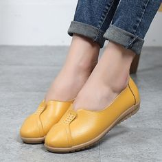 3abae90f399 Pure Color Leather Soft Comfortable Breathable Slip On Round Toe Flat Shoes  is cheap and comfortable. There are other cheap women flats and loafers  online.