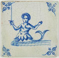 Antique Dutch Delft tile in blue with a mermaid wielding a sword, century Delft Tiles, Blue Tiles, Glazes For Pottery, Glazed Pottery, Floor Cloth, Antique Tiles, Friend Tattoos, 17th Century, Art Decor