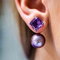 Amethyst & Pearl Drop Earrings - Plukka - Shop Fine Jewelry Online