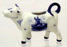 "DeWit Handpainted Blue Delft Cow Creamer 4"" Tall"