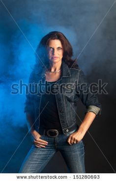 brunette woman on black