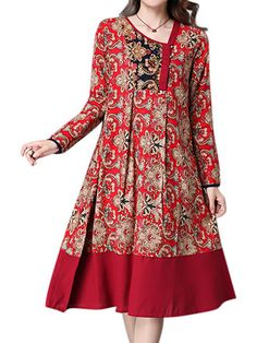 Ethnic Floral Printing Patchwork Hem Long Sleeve Loose Dress at Banggood Stylish Dresses For Girls, Stylish Dress Designs, Dress Neck Designs, Designs For Dresses, Pakistani Fashion Casual, Pakistani Dresses Casual, Pakistani Dress Design, Casual Dresses, Loose Dresses