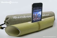 iBamboo Speaker is a natural speaker made from a single natural material, bamboo. The natural resonance of the bamboo amplifies the sound produced by the built-in speaker in the iPhone 4/4S.
