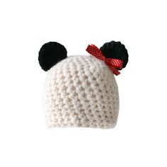 Crocheted Panda Hat with Bow - Limited Edition! ($38) ❤ liked on Polyvore featuring accessories, hats, beanies, panda bear beanie, crochet beanie cap, crochet panda bear hat, panda hat and crochet beanie