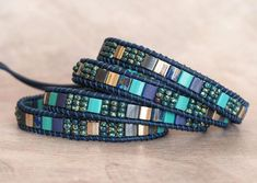 Truly handcrafted and unique stone leather and silver jewelry Beaded Wrap Bracelets, Seed Bead Bracelets, Bracelet Sizes, Handmade Bracelets, Handcrafted Jewelry, Seed Beads, Beaded Necklace, Beaded Leather Wraps, Leather Cuffs