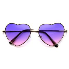 Adorable thin metal heart silhouette frame that are sure to win over hearts on all your sunny days! Features a beautiful multi color tinted lens. Made with a metal based frame, metal hinges and polyca