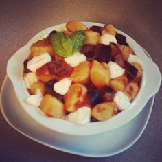 Gnocchi with eggplant, tomato sauce, skinny mozzarella cheese & fresh basil (baked the pot just a few seconds to melt the cheese). #healthyfood #lunch - @Melissa Z.- #webstagram