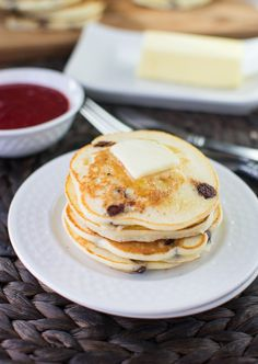 Ricotta Chocolate Chip Pancakes with Strawberry Sauce