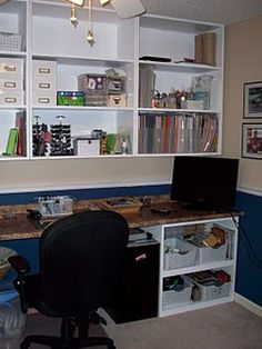 craft room shelving--would be very nice in your scrapbooking room