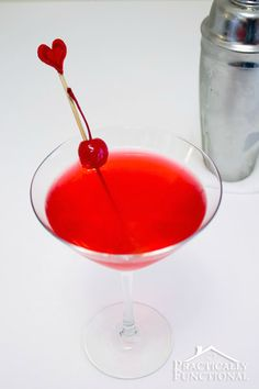 Cupid's Broken Arrow Recipe ~ vodka, Triple Sec, cranberry juice, lime juice and a cherry