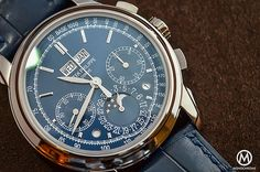 The @patekphilippe 5270 Perpetual Calendar Chronograph Blue, with blue dial and strap, features an 18k white gold 41 mm case which holds the Patek Philippe Caliber CH 29-535 PS Q. More at: http://www.watchtime.com/blog/monochrome-monday-reviewing-the-patek-philippe-5270-perpetual-calendar-chronograph-blue/ #patekphilippe #watchtime #chronograph