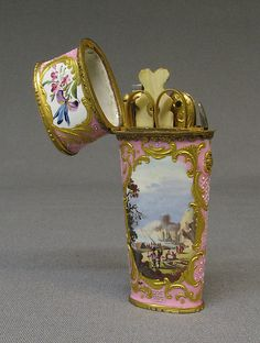 Nécessaire, c 1760, English, enameled copper. Metropolitan Museum of Art.   Lizzie was sure to keep a nécessaire in her pocket - a small, elegant caddy for all that's necessary for an 18th c lady on the go.