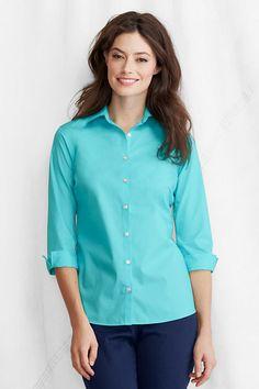 Women's 3/4-sleeve Modern Broadcloth Shirt from Lands' End