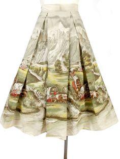 Vintage 50s Novelty Print Border Print Full Skirt Millworth Oregon Trail S #noveltyprint #millworth #50sskirt
