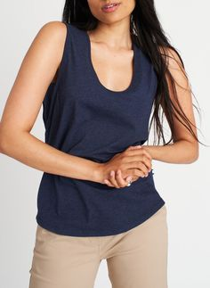 Be Free Tank, Heather Deep Navy | Kit and Ace Ribbed Fabric, Saved Items, Basic Tank Top, Sportswear, Fitness Models, V Neck, Tank Tops, Tees, Kit