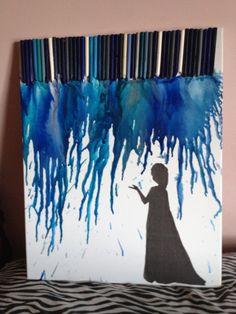 Elsa melted crayon art!