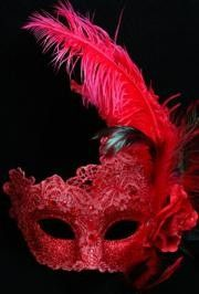 7in Wide x 14in Tall Venetian Macrame Red Mask w/ Rhinestones And w/ Feathers On The Side