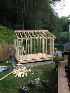 Framing for shed: 40 ea 1 ea for ridge Small Garden Office, Porch Swing, Outdoor Furniture, Outdoor Decor, Ea, Building, Projects, Summer, Home Decor