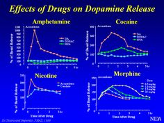 Effects of Drugs on Dopamine release, showing dopamine spikes from amphetmine, cocaine, nicotine and morphine