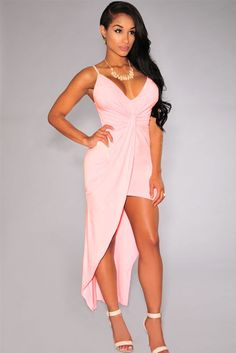 f0e903486b3 Pink Knotted Front High-Low Jersey Dress Dropship Price  US  6.10 Club  Outfits