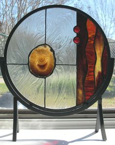Round Modern Stained Glass Panel with Agate by Nanantz on Etsy