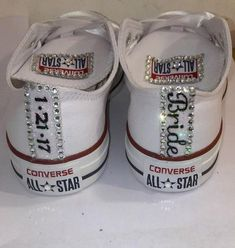 Women's Converse All Star White Wedding Bride Bling Personalized Gift Shower