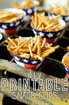 Party Ideas by Mardi Gras Outlet: Stars n' Stripes Snack Cups: Free Printable