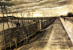 Country Road, 1890 by Vincent van Gogh. Post-Impressionism. landscape. Van Gogh Museum, Amsterdam, Netherlands
