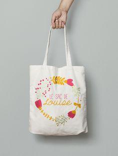 Tote bag coton personnalisé - vintage fleurs