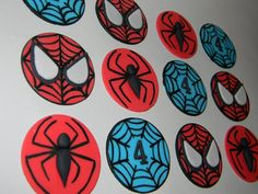 12 Fondant Spiderman Cupcake Toppers by SugarFlowersNMore on Etsy, $18.00