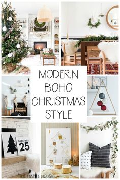 Modern and Boho Christmas Style feature elements of scandi-chic Christmas style design; and the mix is a fun eclectic way to decorate for Christmas. Bohemian Christmas, Modern Christmas Decor, Christmas Bedroom, Christmas Fashion, Christmas Home, Christmas Crafts, Christmas Mantles, Purple Christmas, Natural Christmas
