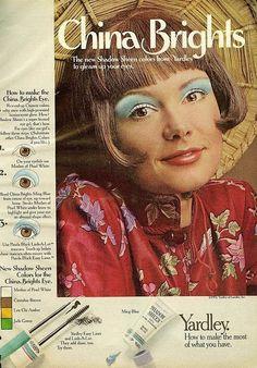 "vintage makeup ad | 1972 eye shadow add ""china brights"""