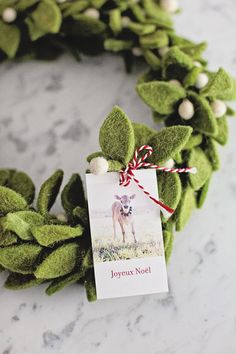 Felt Wreath / French Farmhouse Christmas Gift Tags