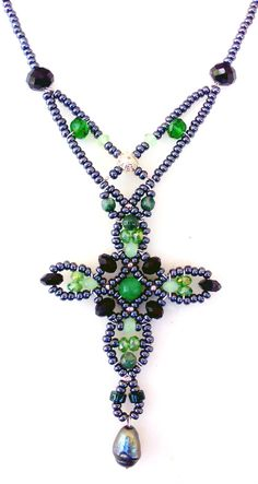 """""""Ascension - Emerald & Pearl"""" Necklace from Musesa Collection. Emerald, Pearl, Green Aventurine and Swarovski Crystals. Gemstone Jewelry, Beaded Jewelry, Fine Jewelry, Beaded Necklace, Jewelry Making, Pearl Necklace, Beaded Cross, Necklace Tutorial, Cross Jewelry"""