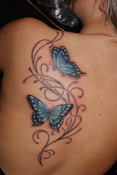 - Butterfly Tattoos – Free Tattoo Designs Butterfly Tattoos – Free Tattoo Designs This image - Butterfly With Flowers Tattoo, Butterfly Tattoo On Shoulder, Butterfly Tattoos For Women, Butterfly Tattoo Designs, Butterfly Design, Butterflies, Mom Tattoos, Body Art Tattoos, Tribal Tattoos