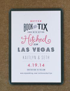 Mixed typeface wedding save the date | Vintage Glam Wedding at Mandarin Oriental Las Vegas | Photo: @megruth - invitation: Minted