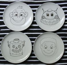 DIY food face plates-make into bubble guppies